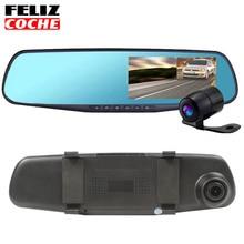 Автомобильный Видеорегистратор 170 Градусов Full HD 1080 P Автомобиль Camera Recorder Перевернутый Зеркало Двойной Тахограф Ночного Видения G-Sensor вождение A1204