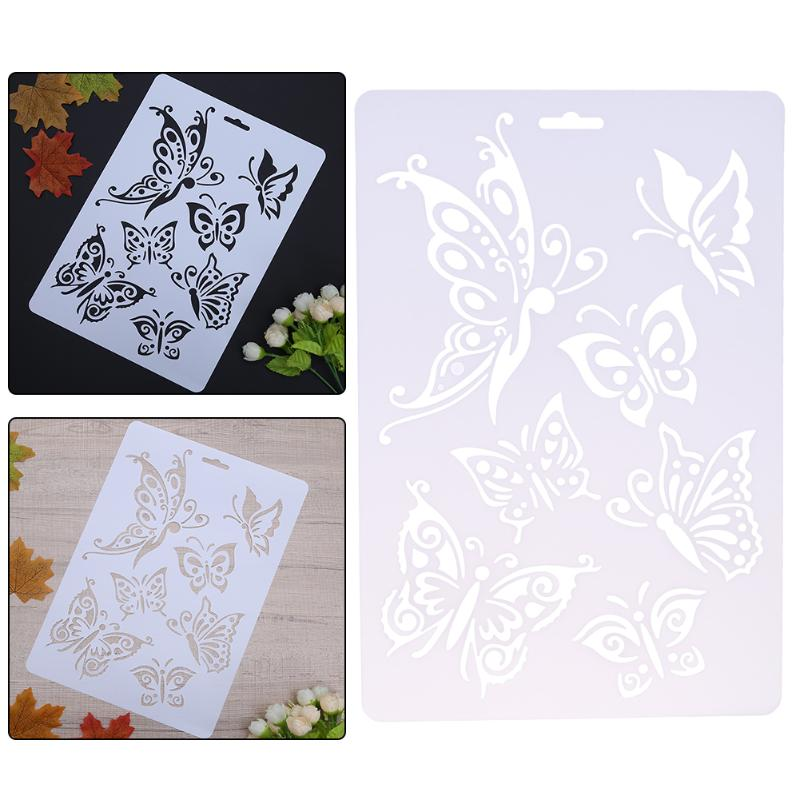 Butterfly Pattern Hollow Plastic Stencils For Painting DIY Scrapbooking Photoalbum Layering Templates Wall Drawing Card Pochoir
