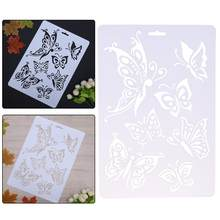 Butterfly Pattern Hollow Plastic Stencils for Painting DIY Scrapbooking Photoalbum Layering Templates Wall Drawing Card Pochoir(China)