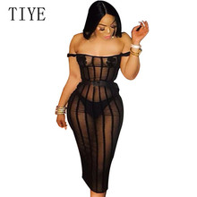 TIYE Women Sexy Stripe Sheer Mesh Bodycon Club Party Dress with Pasties Slash Neck Off Shoulder Sheath Summer Robe Femme