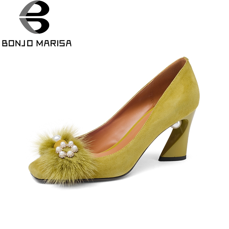 BONJOMARISA New Fashion Genuine Leather slip-on Square High Heels String Bead Shoes Woman Casual Spring Pumps Big Size 33-43 bonjomarisa 2018 spring autumn new genuine leather pumps elegant concise decoration shoes woman shallow slip on shoes