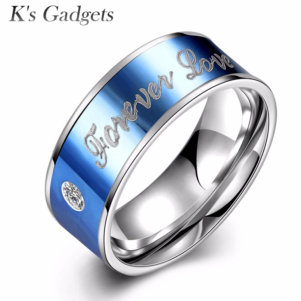 2016 New 316l Blue Stainless Steel Rings For Men Fashion Jewelry Titanium  Steel Rings Couple Alliances