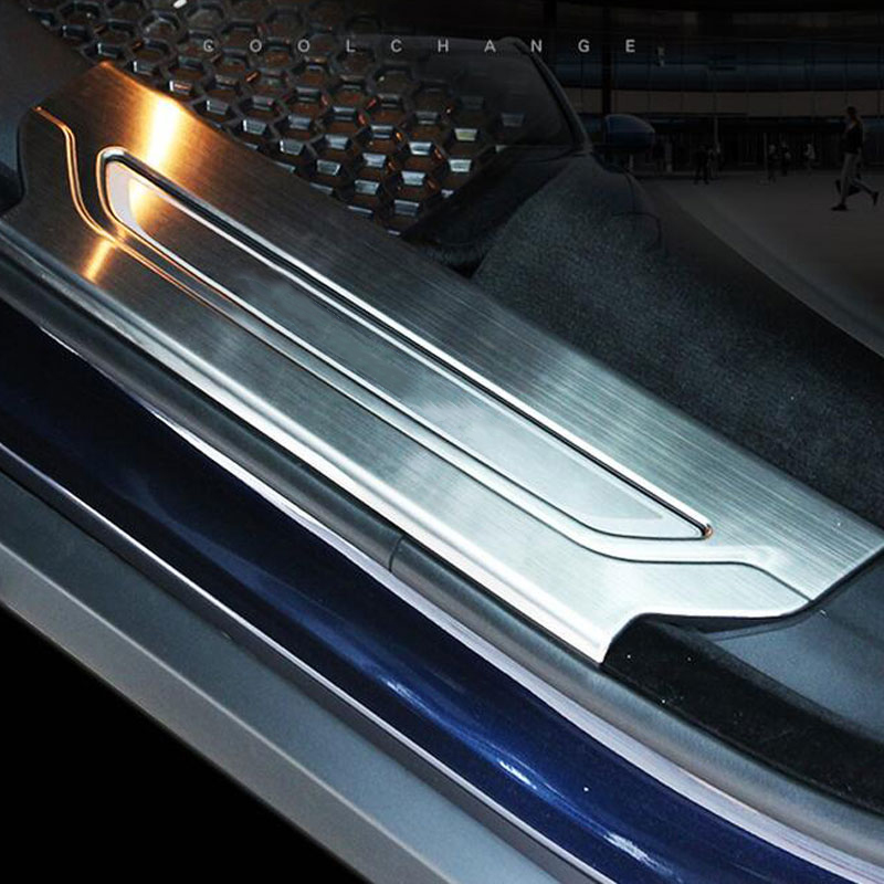 For Jaguar F-Pace f pace X761 2016 Car-Styling 304 Stainless Interior Door Sill Scuff Threshold Plate Trim Set of 4pcs for land rover discovery sport abs chrome rear reading lamp frame cover trim for jaguar f pace f pace car styling 2pcs set