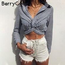 BerryGo Long sleeve stripe blouse shirt women Casual zipper crop top sexy female Streetwear 2018 autumn winter shirt blusas