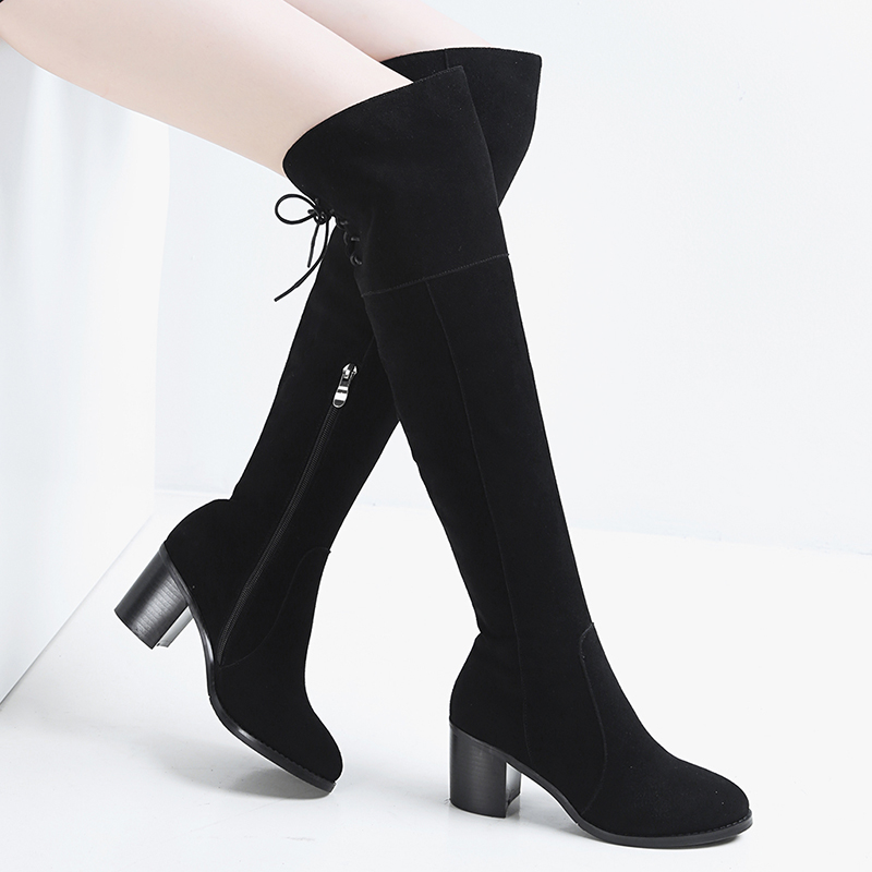 Thigh High Boots For Women 2018 Cross-tied Lady Booties Winter Nubuck Leather New Stylish Female Long Zipper Plush Shoes