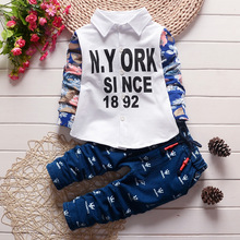 Children Clothes Clothing Sets For Boy 2016 New Fashion Spring/Autumn Tracksuit Boys Letters Coat Floral Long Sleeve+Pants 2pces
