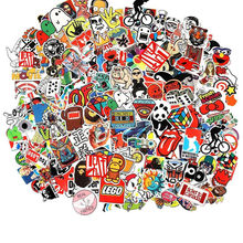 100pcs cute Cool Sticker Random Music Film Vinyl Skateboard Guitar Travel Case For phone TV Travel Case Bicycle Luggage Cars#PN(China)