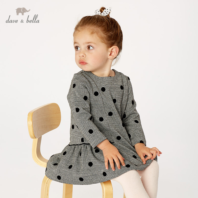 DB11735 dave bella autumn baby girl's princess cute dots dress children fashion party dress kids infant lolita clothes