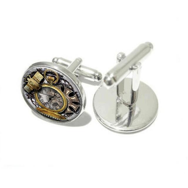Fashion Owl Clock Watch Glass Vintage Animal Cufflinks
