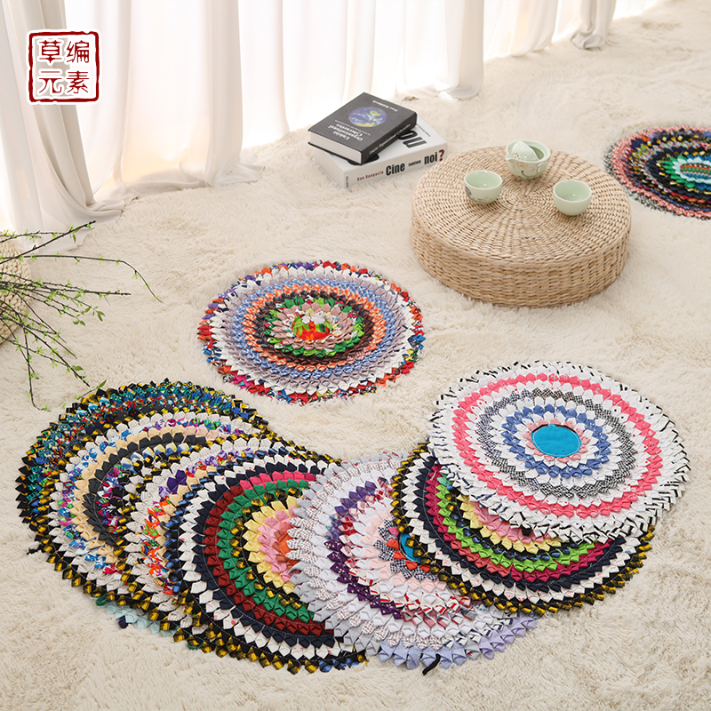 Linen Cloth Thai Southeast Asian Ethnic Wind Hand Color Embroidery Circular Cushion Floor Futon 40cm