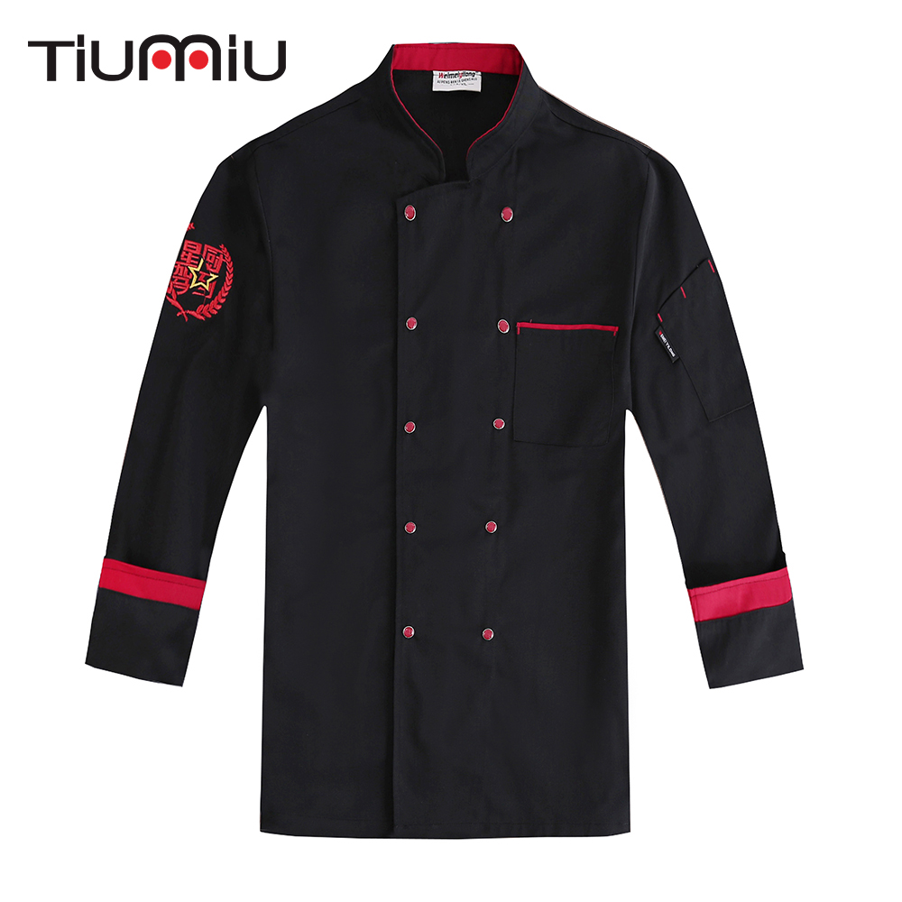 Unisex Double Breasted Spliced Color Embroidery Chef Jacket Kitchen Cook Workwear Coat Food Service Long Sleeve Uniform Overalls