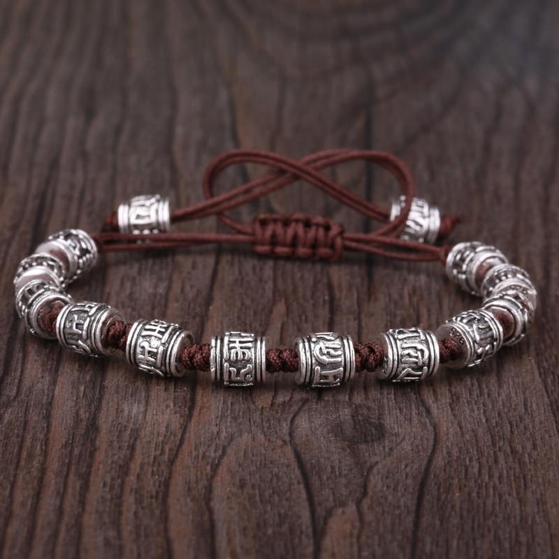 KEJIALAI Six Word Mantra Braided Bracelet Jewelry Strand Bracelets Designer Meditation Buddhism Pray Safe String KJLFZ109