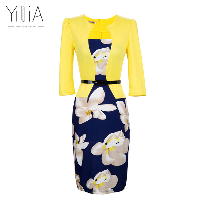 Yilia Women One Piece Patchwork Floral Print Elegant Business Party Formal Office Plus Size Bodycon Pencil Casual Work Dress