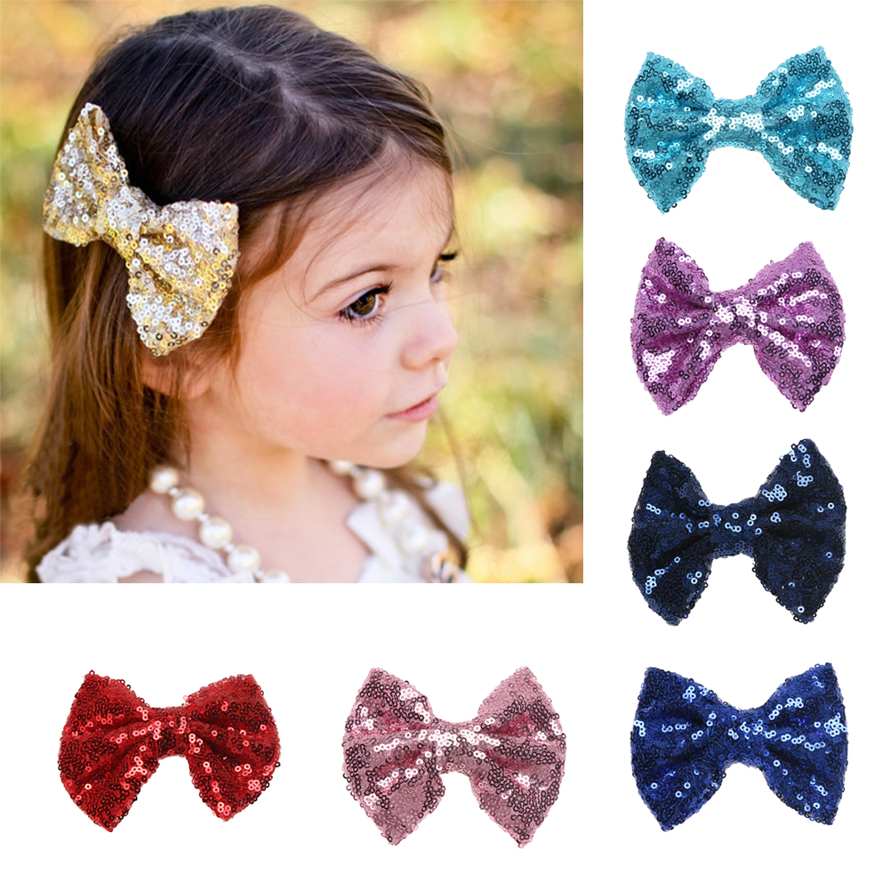Beautiful baby hair accessories - 1 Pc Baby Girls Fashion Sequins Paillette Bowknot Hair Clip Hair Decor Clamp Beautiful Baby Kids