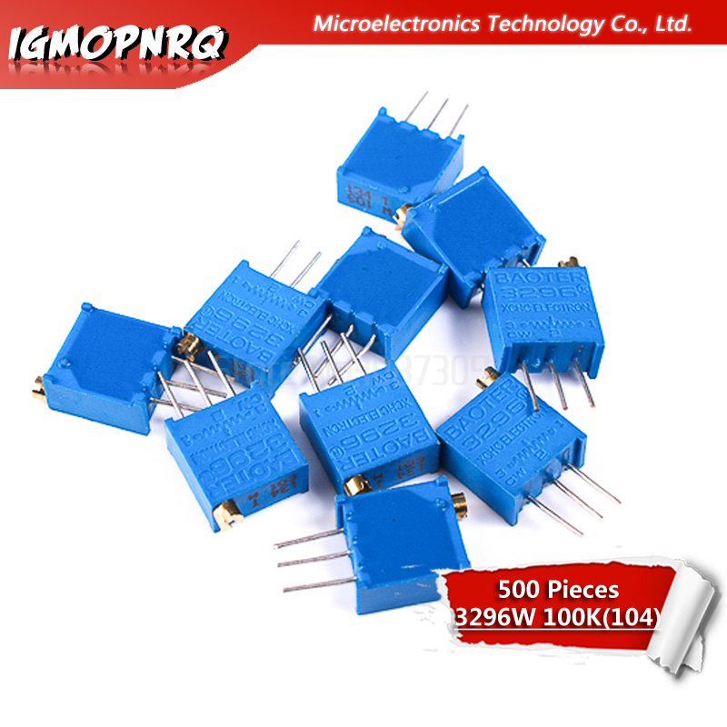 500pcs 3296W 104 3296W 100K ohm Multiturn Trimmer Potentiometer top control Adjustable Resistance 3296W 104 3296W