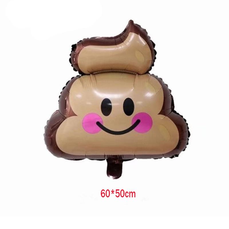 50pcs 60 50cm Hot Sale Foil Emoji Smile Poo Poop Helium Air Balloon Birthday Party Supplies
