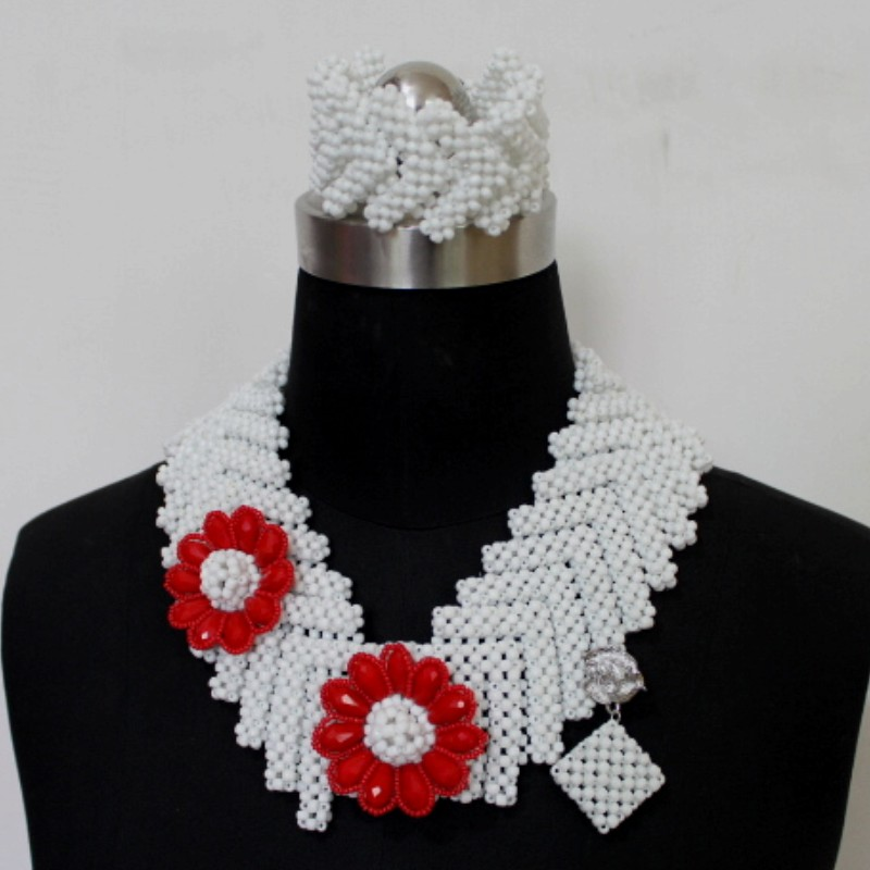 4UJewelry White Statement Necklace & Earring Sets for Women With Red Crystal Beads Flowers African Egyptain Jewelry Sets 20194UJewelry White Statement Necklace & Earring Sets for Women With Red Crystal Beads Flowers African Egyptain Jewelry Sets 2019