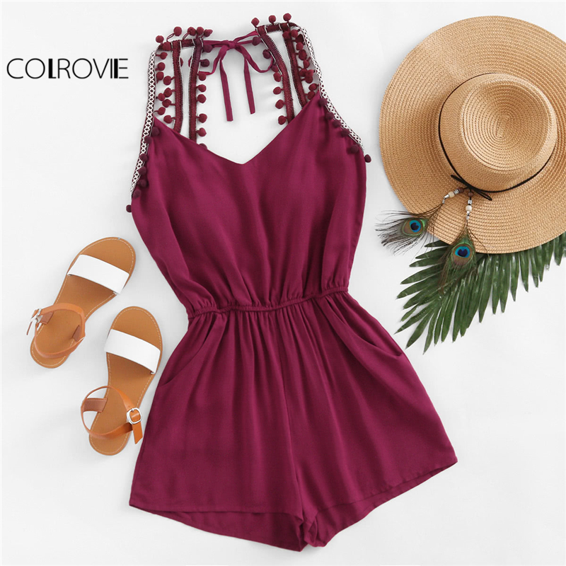 COLROVIE Casual Pompom Trim Backless Romper Women Burgundy Embroidered Taped V neck Sleeveless Playsuit 2018 Boho Romper