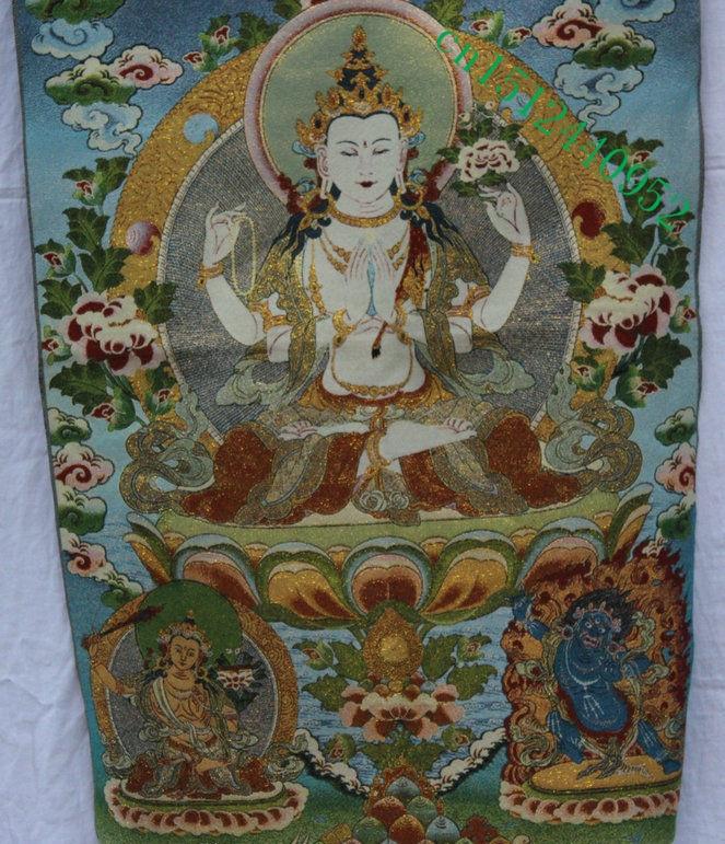 "24/"" Tibet Buddhism Silk Cloth Amitabha Sakyamuni Buddha Thangka Embroidery Mural"