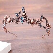 Luxury Wedding Hair Tiaras For Bride Vintage Bronze Hairbands Baroque Flower Crown Women Hair Accessories Bridal Crown Jewelry