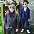 2016 nova primavera criança Blazers ternos conjuntos de roupas menino casaco + calça + colete trajes do bebê xadrez crianças vestuário cinza / azul escuro