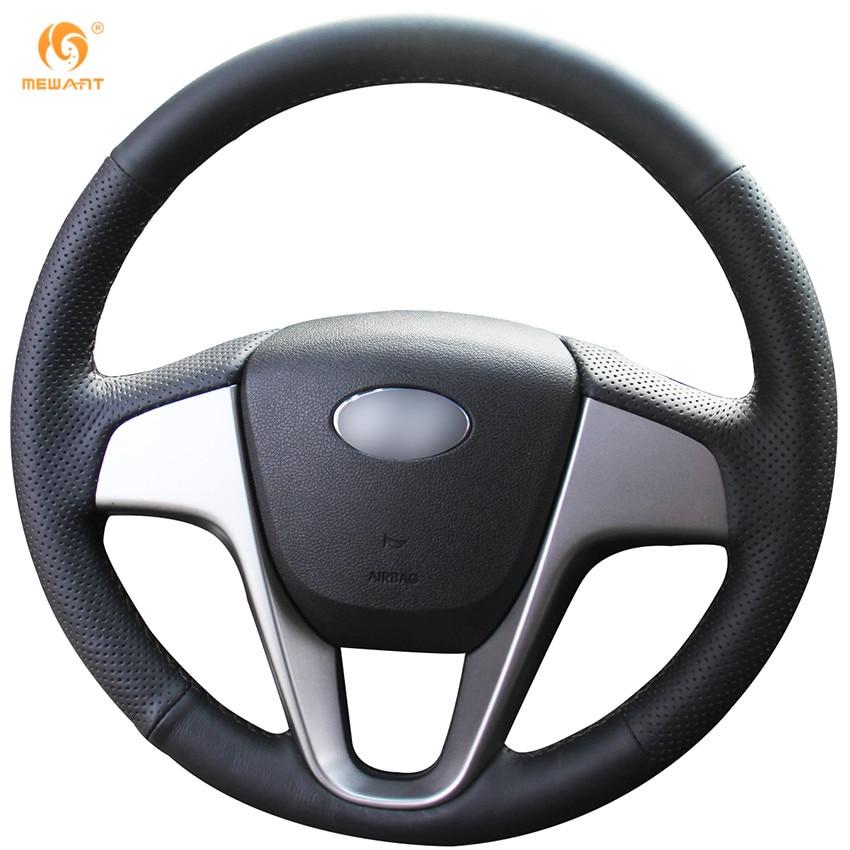 Prix pour Mewant Noir Artificielle En Cuir Couverture De Volant de Voiture pour Hyundai Solaris Verna i20 2008-2012 Accent