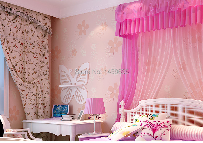Child Wallpaper Girl Eco Friendly Cartoon Non Woven Rustic Small Flower In Wallpapers From Home Improvement On Aliexpress