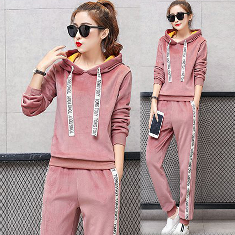 Pink 2 Piece Set Tracksuits For Women Outfit Clothing Plus Size Warm Velvet Sportswear Fall Winter Hoodies Top Pant Suits Black