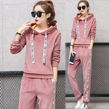 Pink 2 Piece Set Tracksuits for Women Outfit Clothing Plus Size warm velvet Sportswear fall winter Hoodies Top Pant Suits black orange plus size 2 piece set women pant and top outfit tracksuit sportswear fitness co ord set 2019 summer large big clothing