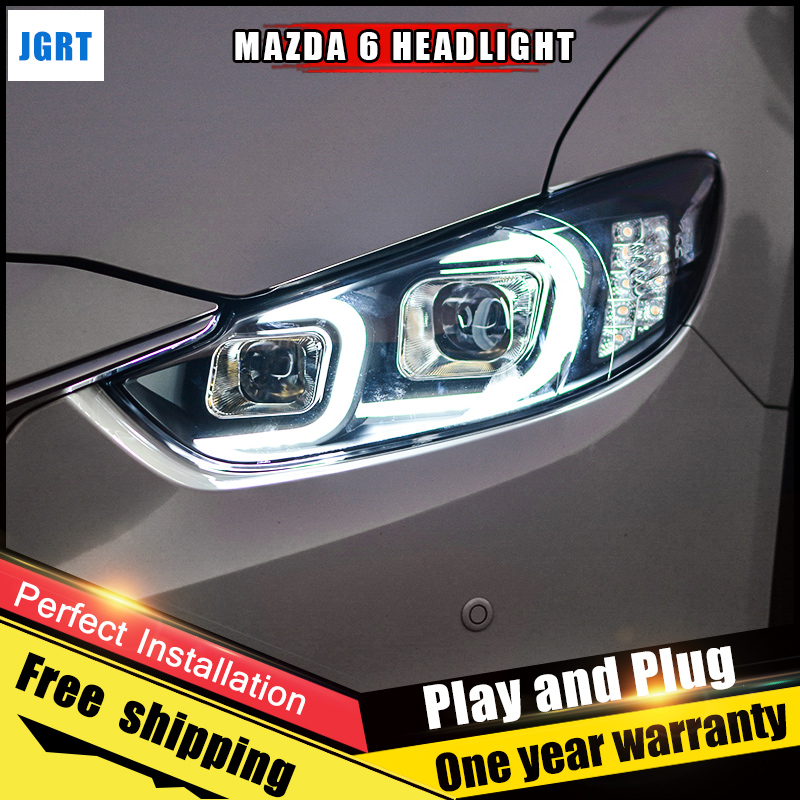 2PCS Car Style LED headlights for Mazda 6 Atenza 2014-2015 for Atenza head lamp LED Lens Double Beam H7 HID Xenon bi xenon lens for volkswagen polo mk5 vento cross polo led head lamp headlights 2010 2014 year r8 style sn