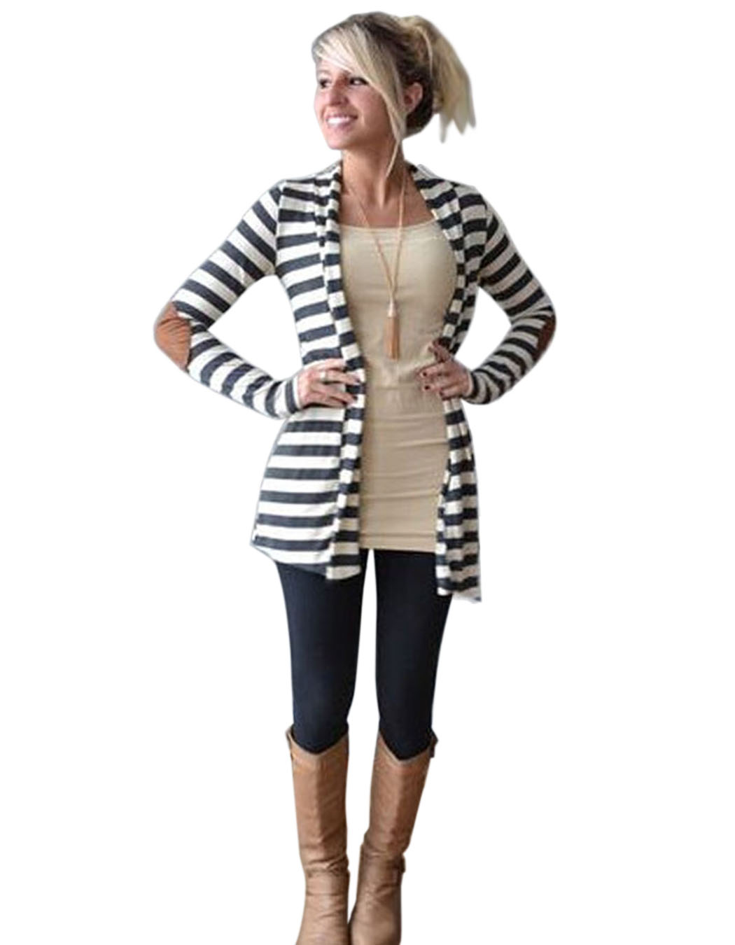 Women Cardigan Long Sleeve elbow patchwork knitted stripes Cotton ...