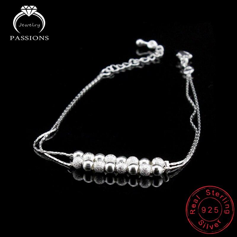 Dubbellaags bal nieuwe voet enkelbandje 925 sterling dames zilver - Mode-sieraden - Foto 4