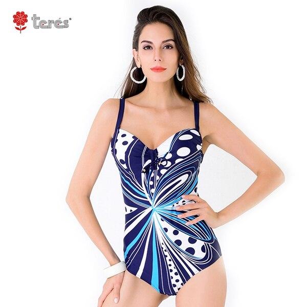 ФОТО 2017 Swimsuit Sexy Bathing Suit Hollow Retro Vintage Flower High Waist Plus Size One Piece Swimwear Bikini Set L-4XL Bikini
