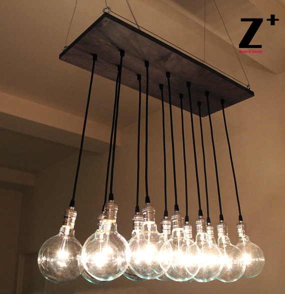 Industrial lights diy hand made vintage 12 edison bulbs chandelier industrial lights diy hand made vintage 12 edison bulbs chandelier lamp suspension coffee bar wood glass mozeypictures Images