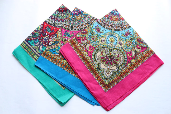 Bohemia Style Paisley Cotton Bandana Party Handkerchief Ladies Headband Headscarf Neckerchief Men Pocket Square SUJASANMY TJ9028