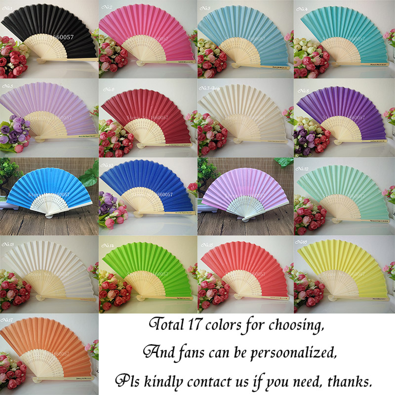 Image 4 - 50pcs Personalized Wedding Favors Gifts Silk Fan Cloth Wedding  Decoration Hand Folding Fans  Customized Printing for Guesthand folding  fanwedding favorswedding decoration