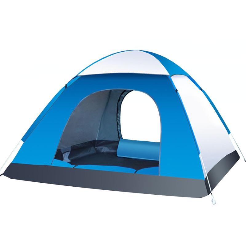 3-4 Person Automatic Folding Tents Family Tents Beach Tent Camping Double Speed to Open Rejection (Blue Grey)