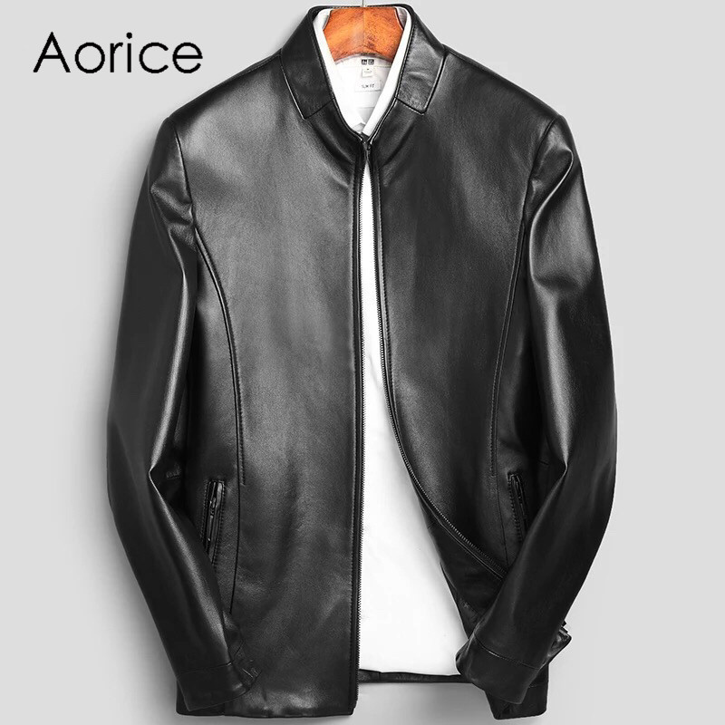 Aorice MT915 2020 new fashion men jacket genuine sheepskin leather jacket spring and autumn casual real leather coat and outwear