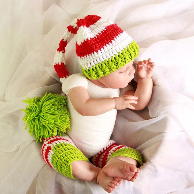 Baby Girl Boy Crochet Elastic Legging Striped Stocking Hat Accessorie  Newborn Knitted Christmas Xmas Infant Photo 2b20cbb2ff7