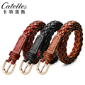 CATELLES Fashion Knitted Women Belts Waist Strap New Female Split Cow Leather Casual Pin Buckle Belt For Girl Free Shipping 1311