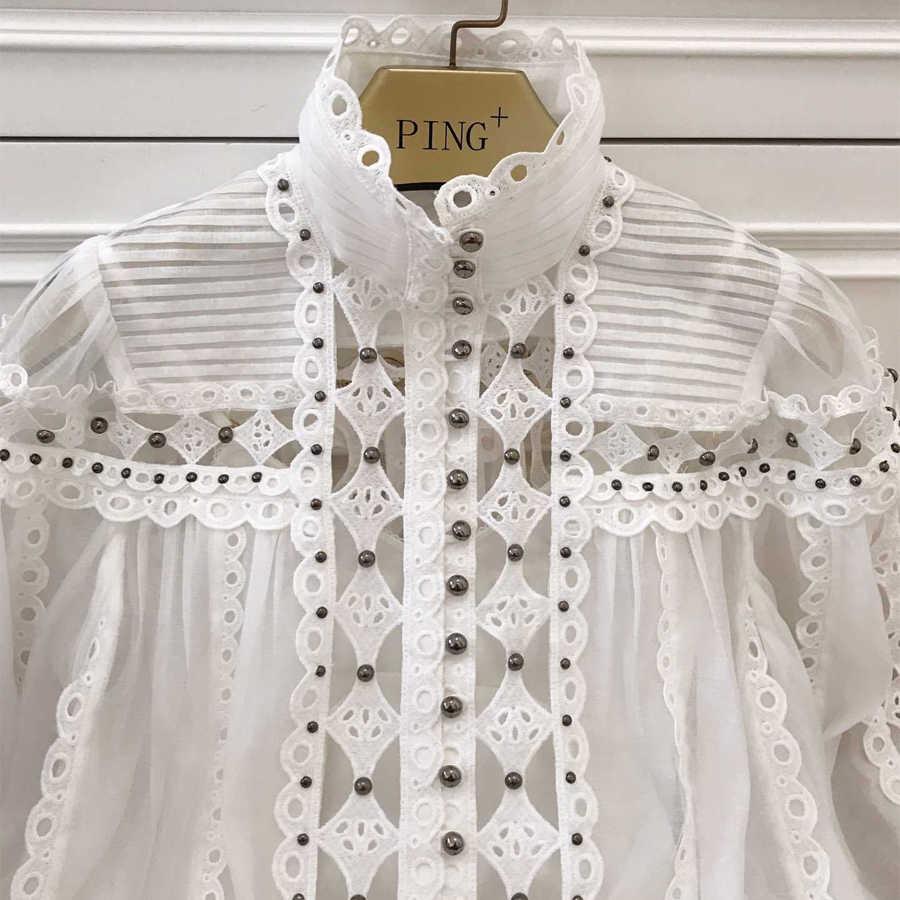 Красный RoosaRosee Новое весенне-летнее дизайнерское платье Женский рукав в форме фонаря с вышивкой заклепки бутик белое платье Vestido Robe Femme
