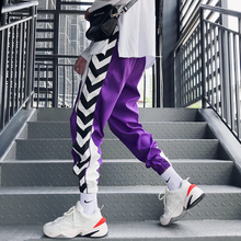 Loldeal Sweatpants Plus Size Casual Black White Stripe Printed Men Hip Hop