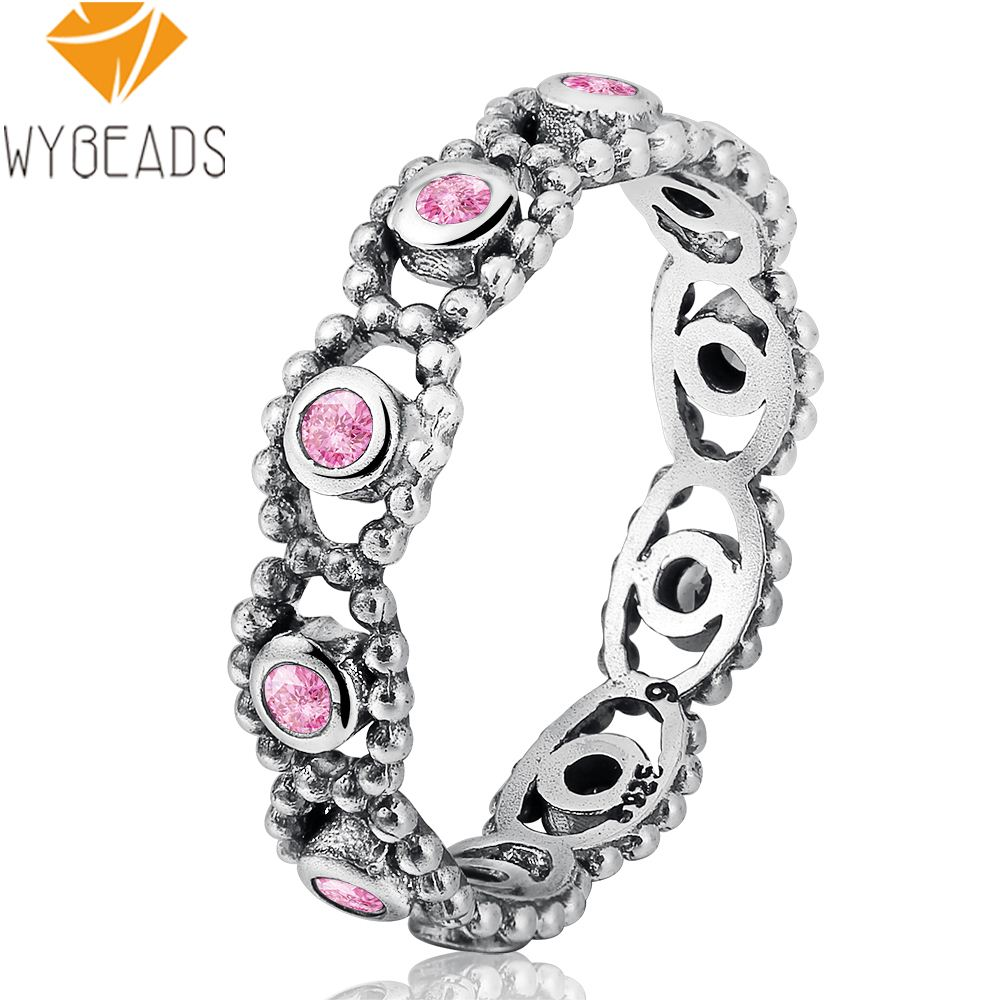 Wybeads Silver Color Romance Her Majesty Rings With Pink Cz Crystal For  Women Female Finger Ring