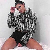 Faux Lamb Fur Hoodies Women Camouflage Long Sleeve Drawstring Waist Short Hooded Sweatshirts for Lady Streetwear T42W10