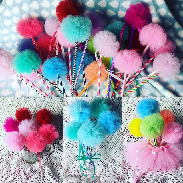 Customized Colors Tulle Pom Pom Wands Party Favors Centerpiece For