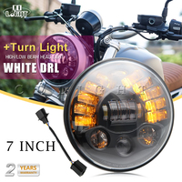 Amber LED Round 7 Motorcycle Headlight with Turn Signal for Harley Chopper Cafe Racer Bobber 6000K 3000K H4 70W 40W DRL