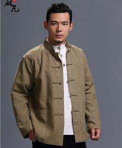 Весна и осень китайский стиль ретро лягушка Повседневный чистый льняной кардиган мужская верхняя куртка с карманом