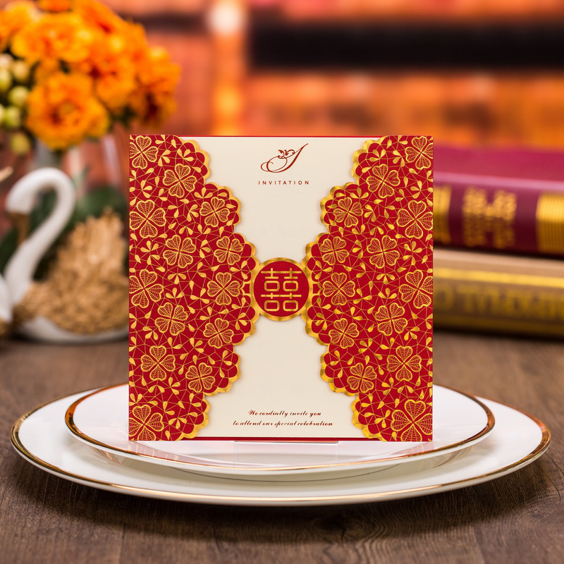 50pcs Laser Cut Flower Marriage Wedding Invitations Cards 3D Card Greeting Cards Invite Friends Postcard Event & Party Supplies 1pcs sample laser cut bride and groom marriage wedding invitations cards greeting cards 3d cards postcard event party supplies