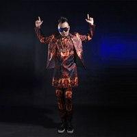 2016 Fashion Slim Fire Printed Suits For Men Male Singer Dance Wear Cool Blazer Vest Pants Clothing Set Performance Costume