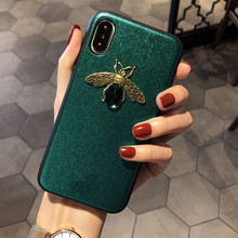 Luxury brand Diamond Bee Glitte soft case for iphone 7 8 6S plus X XR XS 11 Pro Max hard cover for samsung S8 S9 S10 Note 10 9(China)